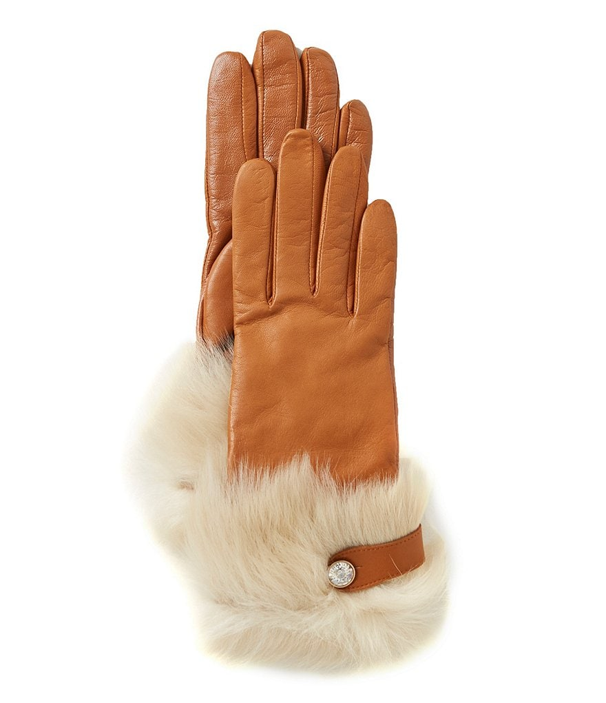 UGG® Leather Tech-Capable Gloves with Shearling & Swarovski Cuffs