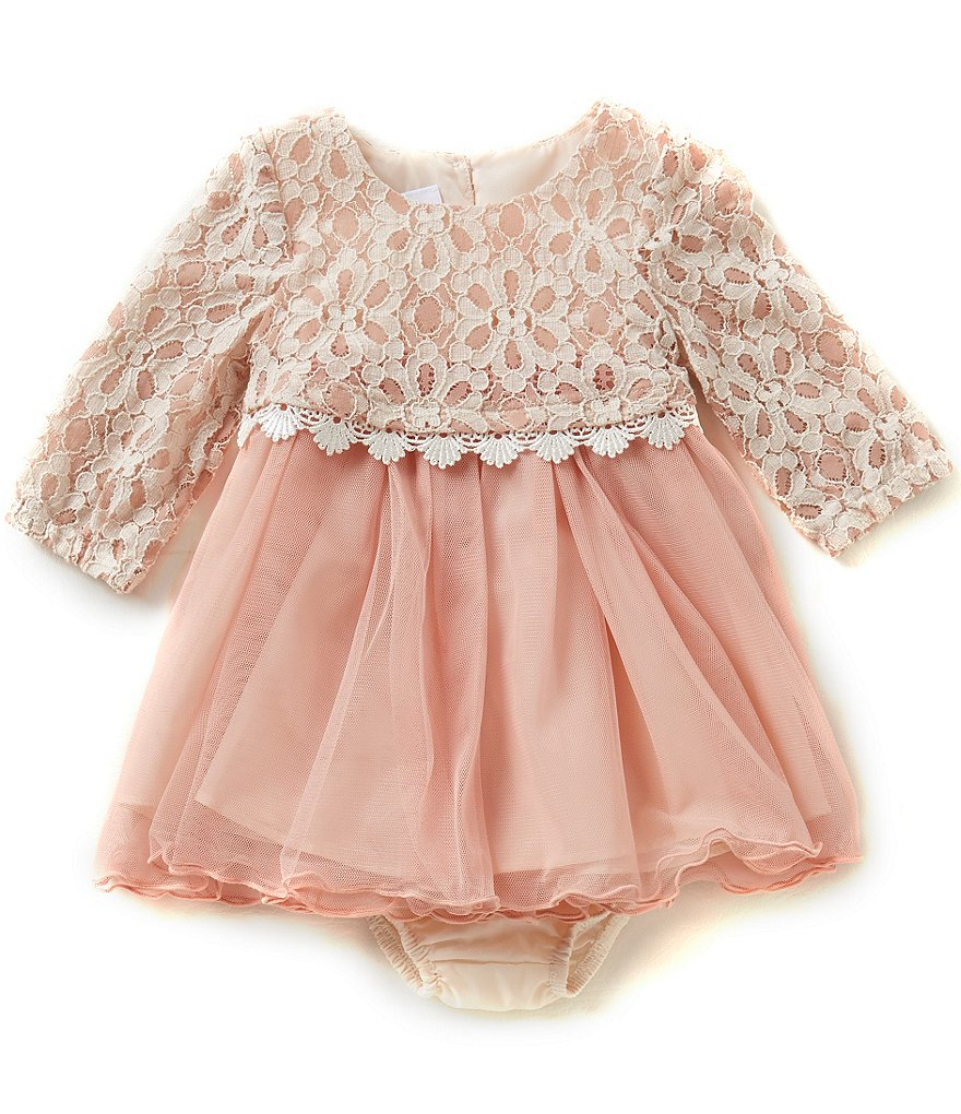 Bonnie Baby Baby Girls Newborn-24 Months Lace Popover to Tulle Dress