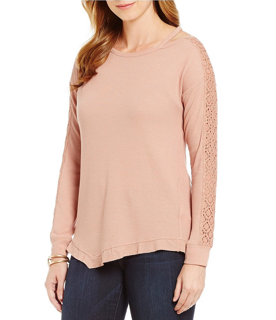 Democracy Long Sleeve Knit Top with Cut-Out Neckline Detail