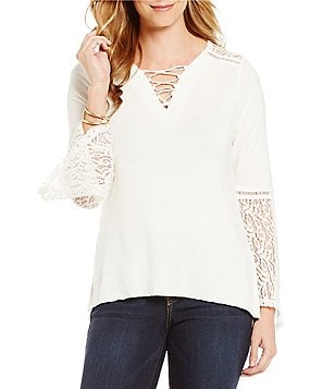 Democracy Lace-Up V-Neck Lace Detailed Bell Sleeve Top