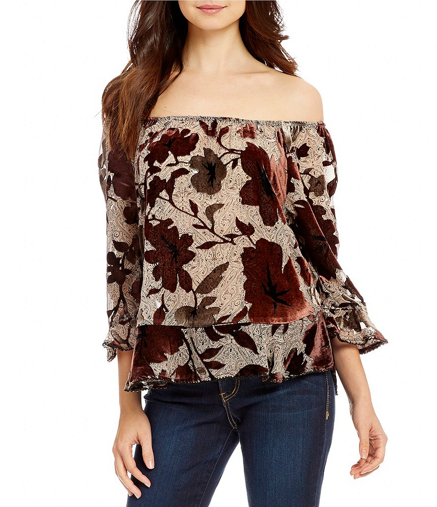 Democracy Off-The-Shoulder Velvet Floral Print Top