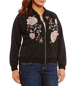 Democracy Plus Floral Embroidered Crepe Bomber Jacket
