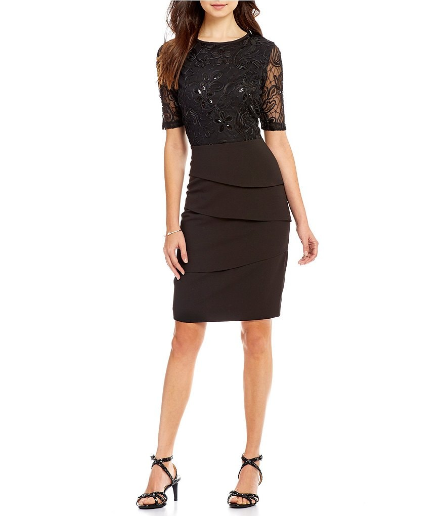 Alex Marie Giada Round Neck Sequin Floral Embroidered Mesh Tiered Dress