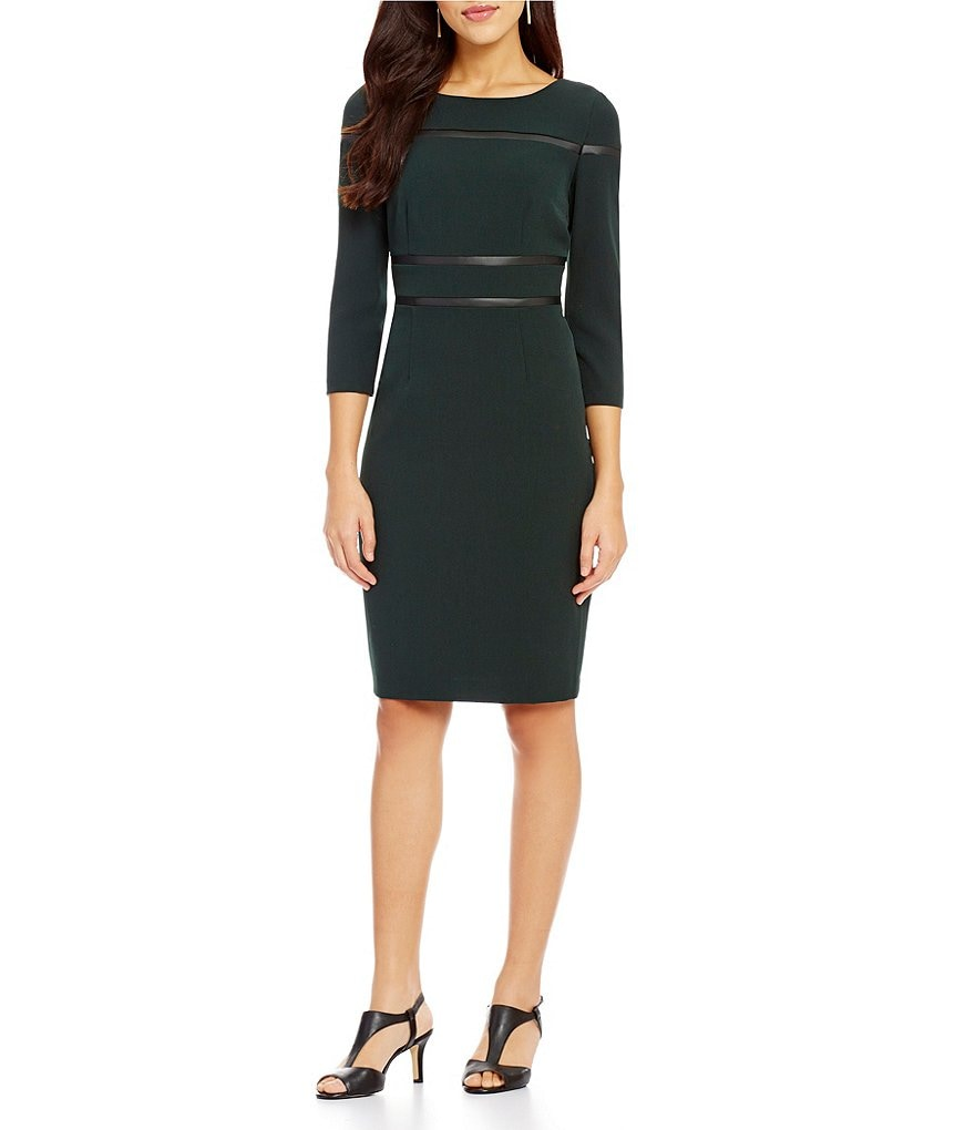 Alex Marie Ellen Crepe 3/4 Sleeve Sheath Dress