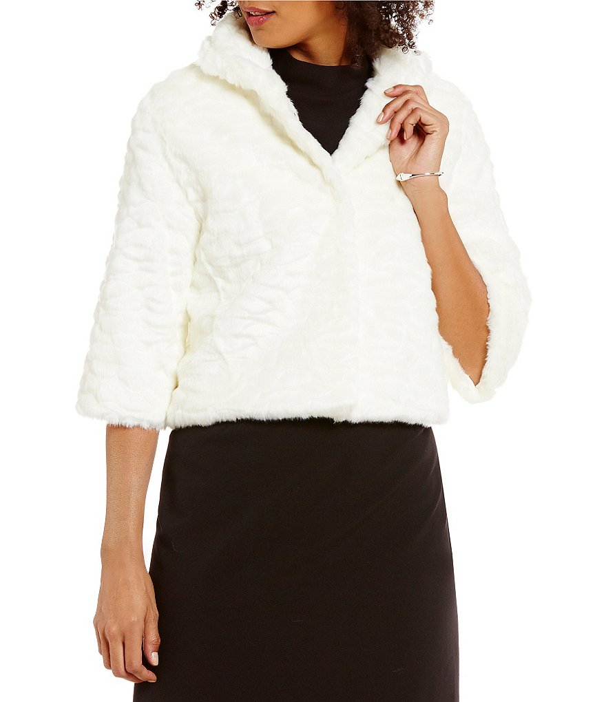 Alex Marie Nadia Round Neck 3/4 Sleeve Hook Front Faux-Fur Jacket