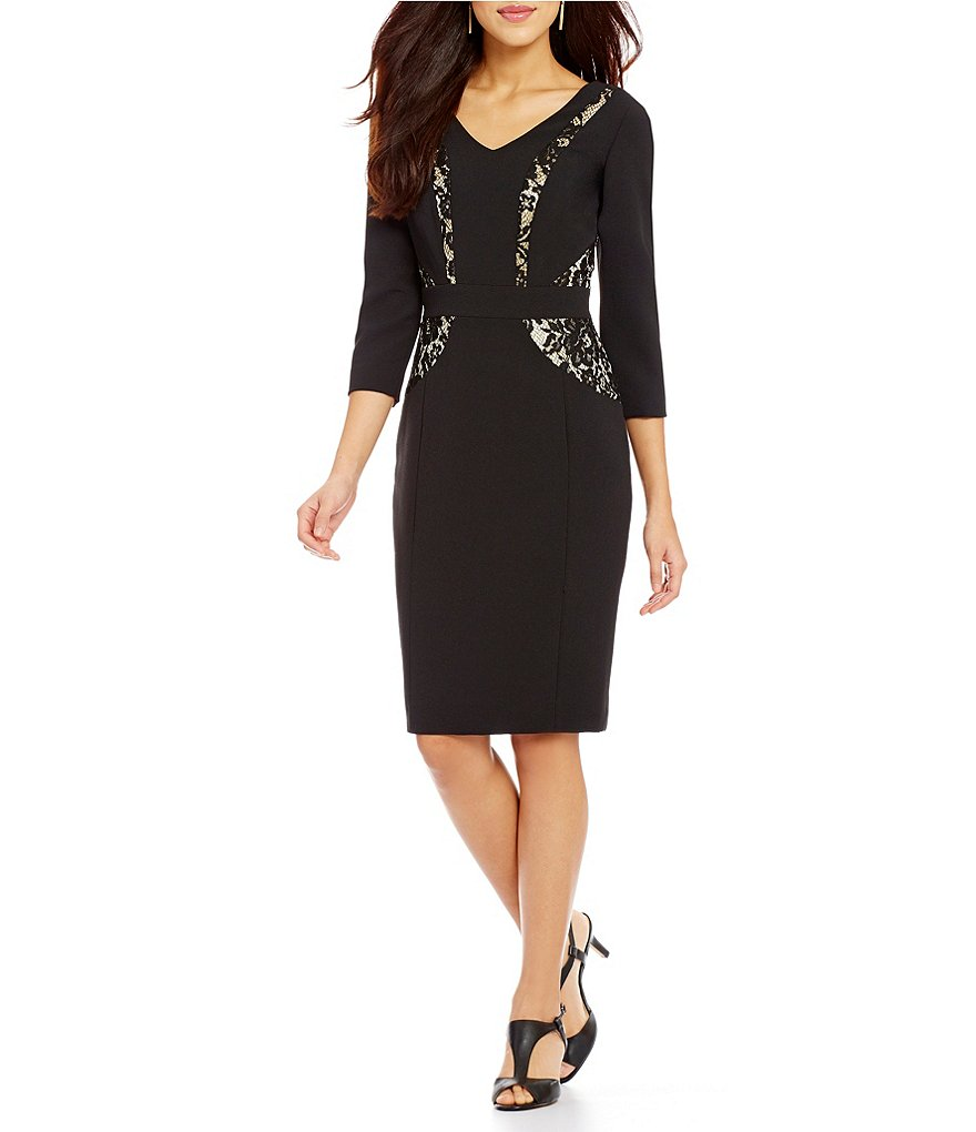 Alex Marie Ana Sheath V-Neck 3/4 Sleeve Lace Dress