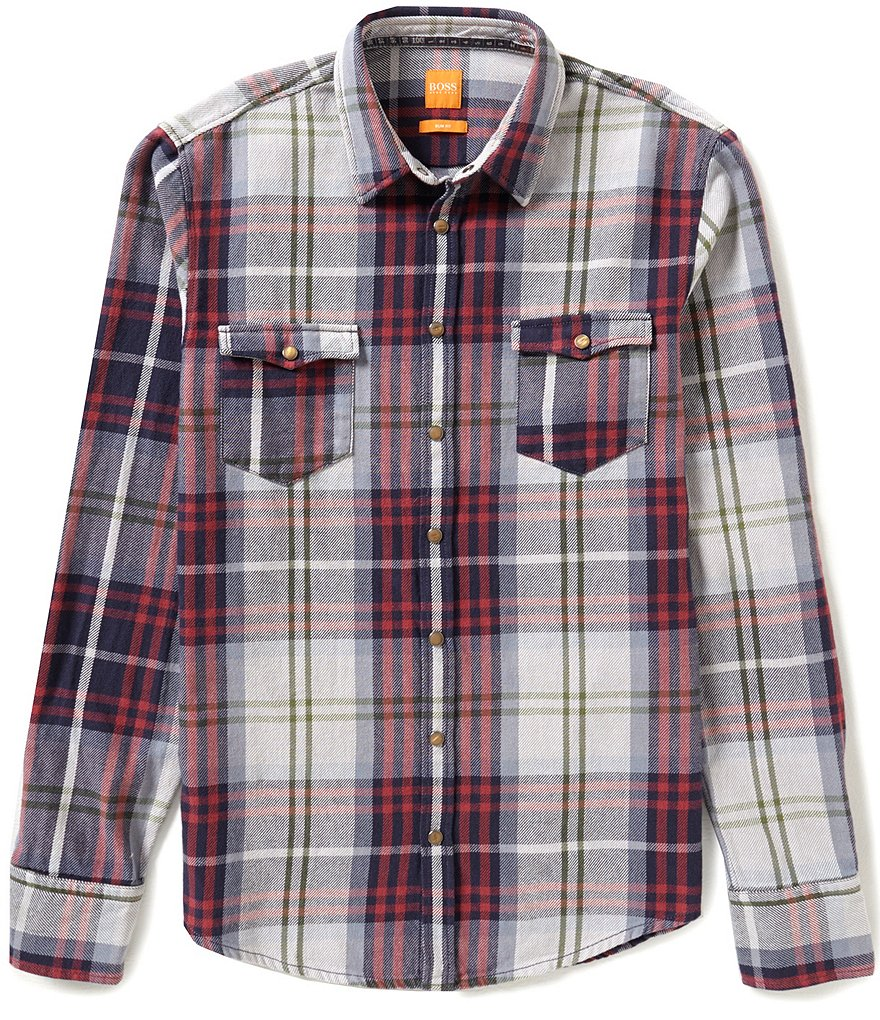 BOSS Orange Edoslime Slim-Fit Long-Sleeve Plaid Woven Shirt