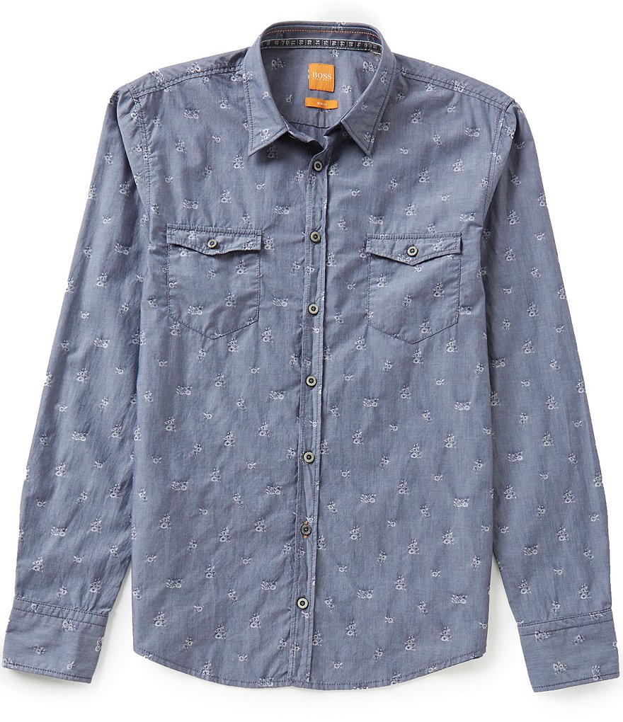 BOSS Orange Edoslime Slim-Fit Jacquard Shirt