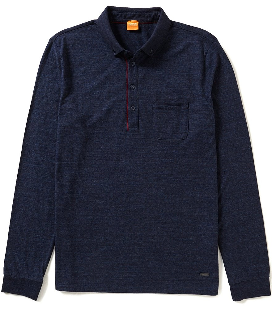 BOSS Orange Patcherman Long-Sleeve Polo Shirt