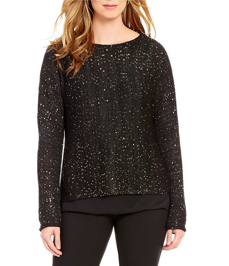 Alex Marie Yvonne Jewel Neck Long Sleeve Sequined Sweater