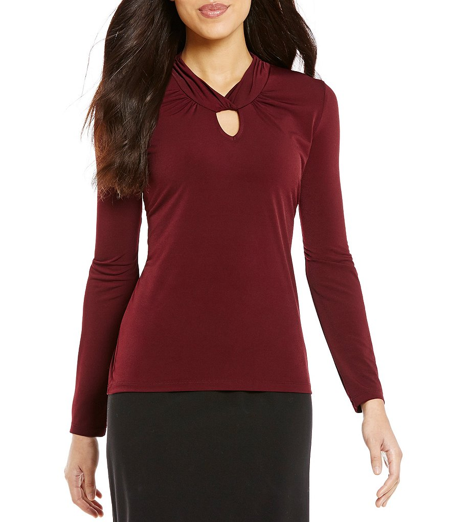 Alex Marie Cheri High Neck Keyhole Knit Top