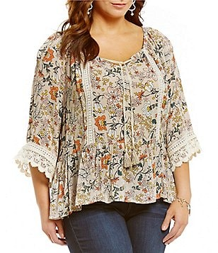Democracy Plus Off-The-Shoulder Bell Sleeve Tie Front Printed Flounce Top