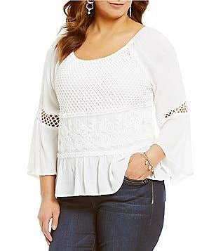 Democracy Plus Off-the-Shoulder 3/4 Sleeve Crochet Detail Top