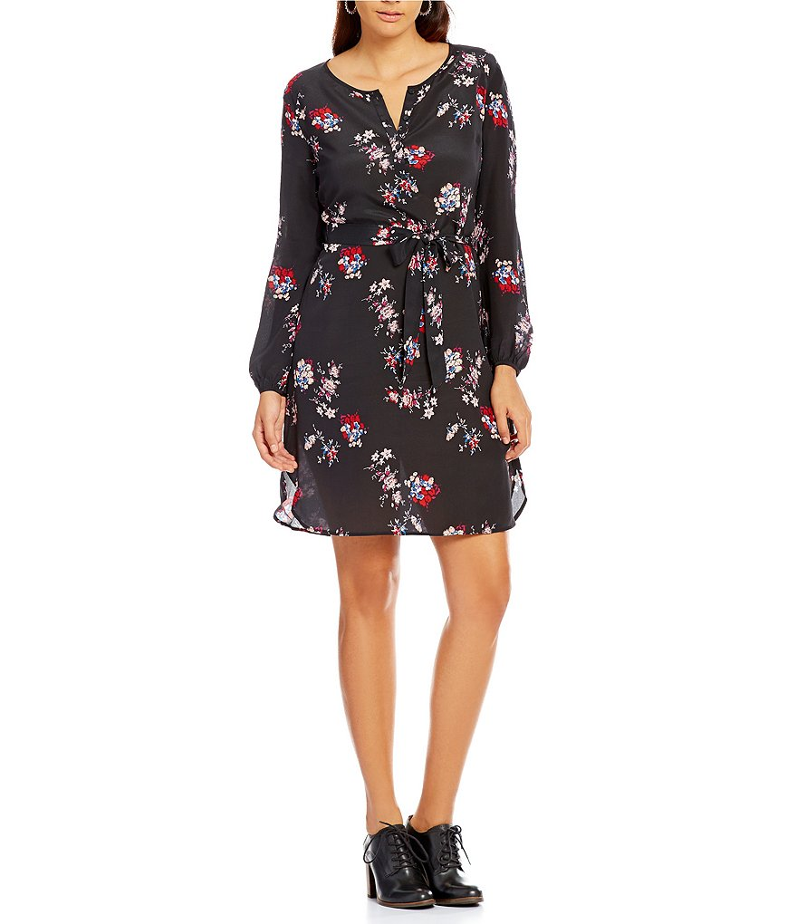 Lucky Brand Silk Floral Print Long Sleeve Dress