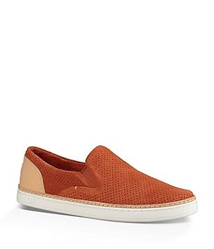 UGG® Adley Perforated Suede Leather Heel Slip On Sneakers