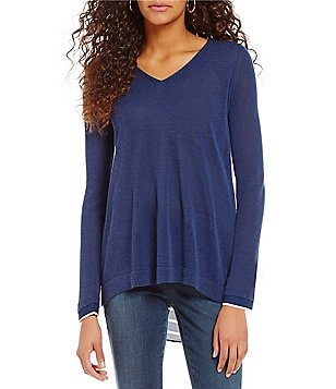 NYDJ V-Neck Long Sleeve Split-Back Solid Sweater