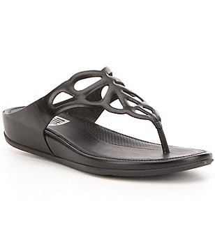 FitFlop Bumble Metallic Leather Butterfly Cutout Thong Sandal