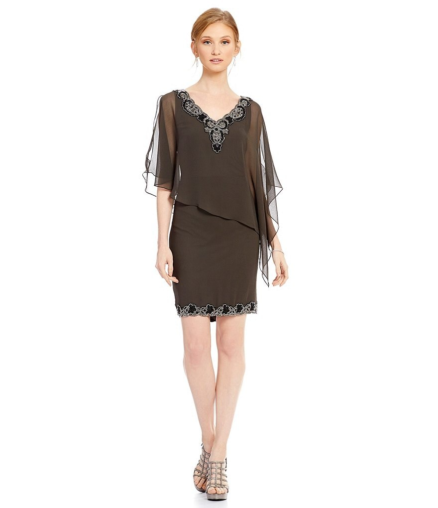 Jkara V-Neck Chiffon Overlay Sheath Dress