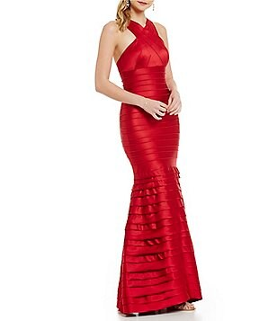 Kay Unger Halter Satin Mermaid Gown