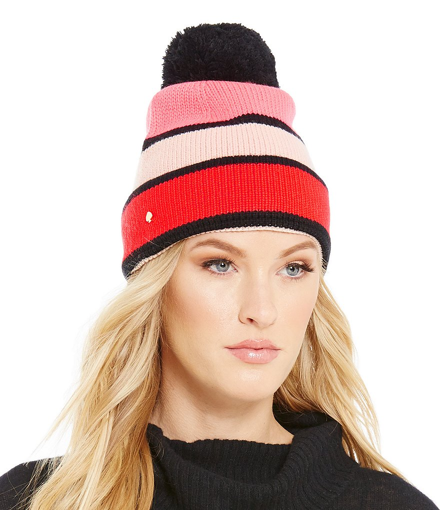 kate spade new york Color Block Beanie with Pom