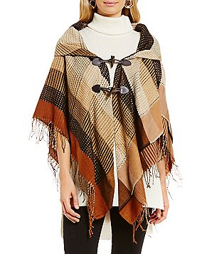 Collection 18 Mini Plaid Poncho