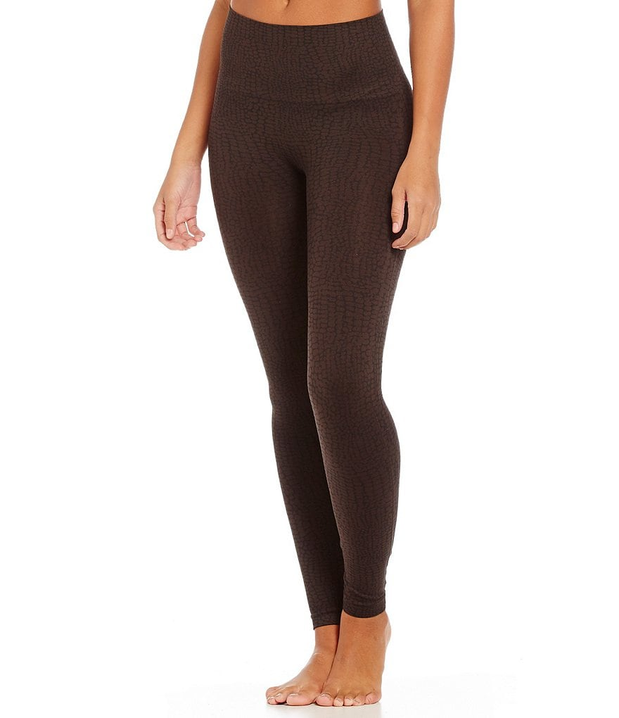 Spanx Seamless Crocodile-Print Ankle Leggings