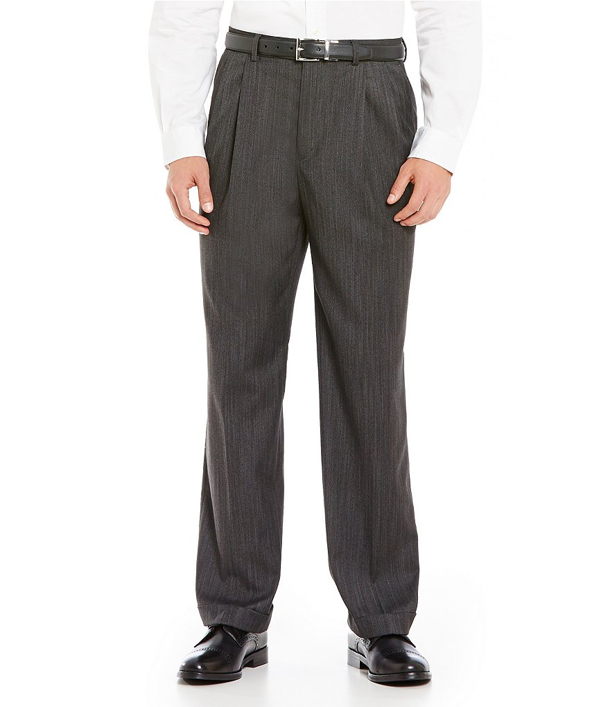 Ralph Ralph Lauren Classic-Fit Pleated Herringbone Dress Pants