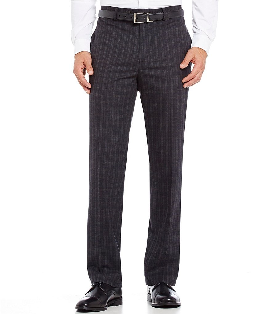 Ralph Ralph Lauren Slim Fit Flat-Front Windowpane Dress Pants