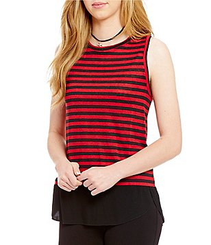 Sanctuary Dillon Stripe Mixed Media Tank