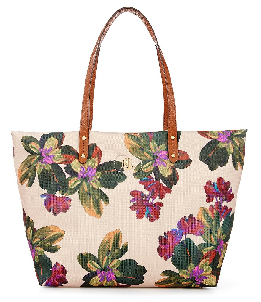 Lauren Ralph Lauren Bainbridge Collection Watercolor Floral Nylon Tote