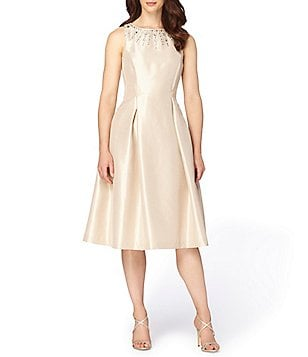 Tahari ASL Beaded Neckline Sleeveless Shantung Midi Dress