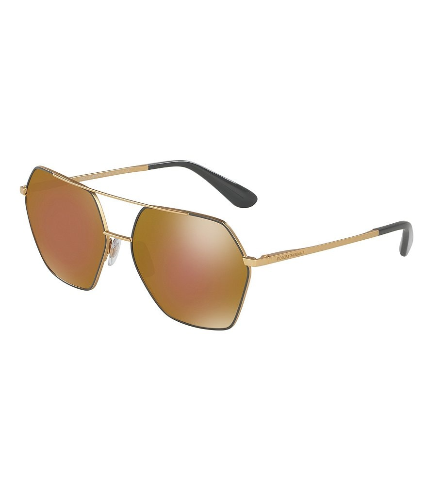 Dolce & Gabbana Mirrored Hexagonal Aviator Sunglasses