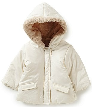 Starting Out Baby Girls 3-24 Months Faux Sherpa Hooded Puffer Coat