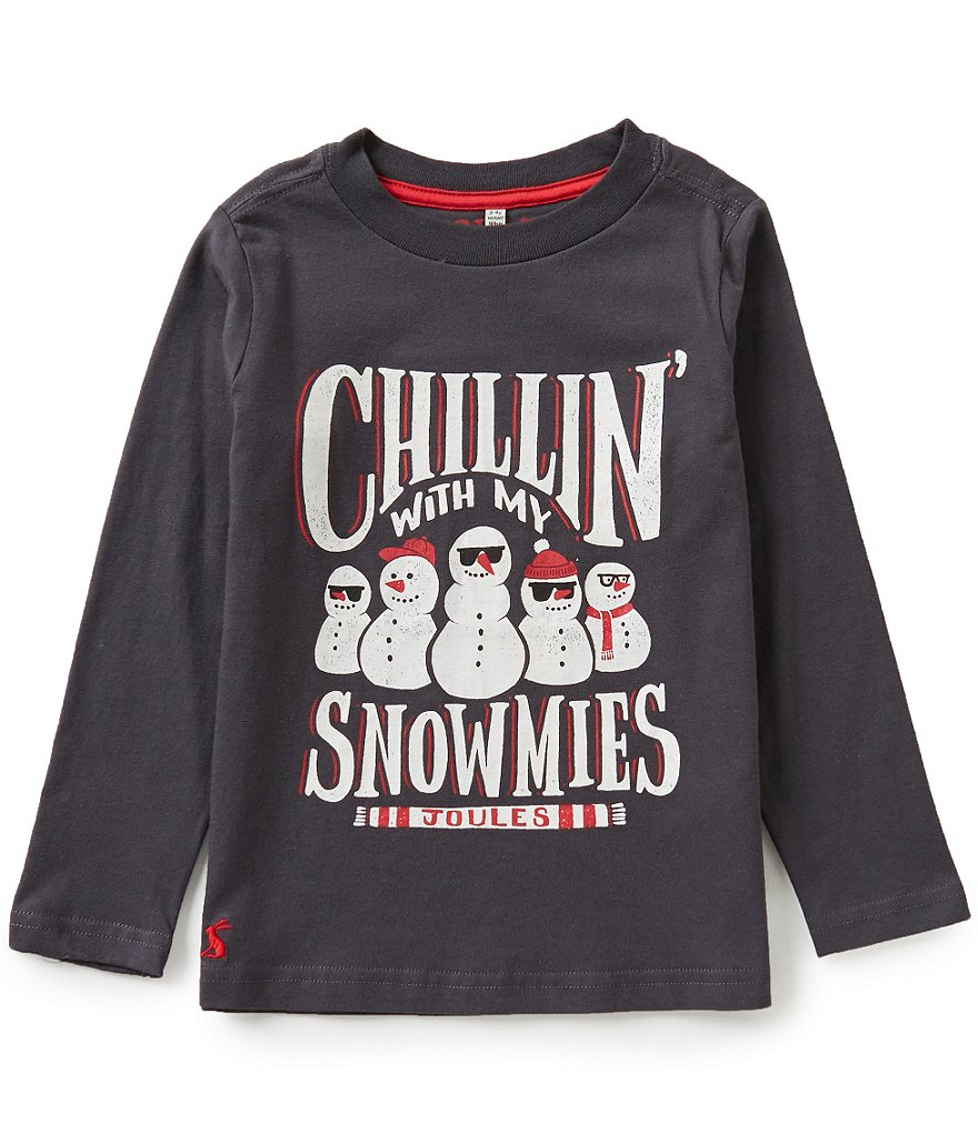 Joules Little Boys 3-6 Snow Man Screen Print Top