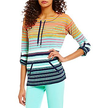 Ruby Rd. Drawstring Ballet Neck 3/4 Roll-Tab Sleeve Stripe Silky French Terry Top
