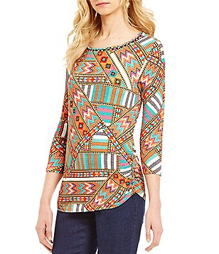 Ruby Rd. Embellished Scoop-Neck Double Side Ruching Knit Top
