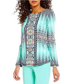 Ruby Rd. Ballet-Neck Long Sleeve Tapestry Ikat Placement Print Knit Top