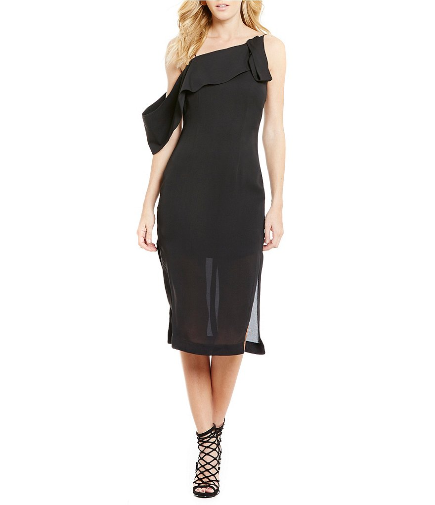 Keepsake Laika Asymmetric Neck Midi Dress