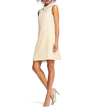 Adrianna Papell Crepe Beaded Neck Trapeze Dress