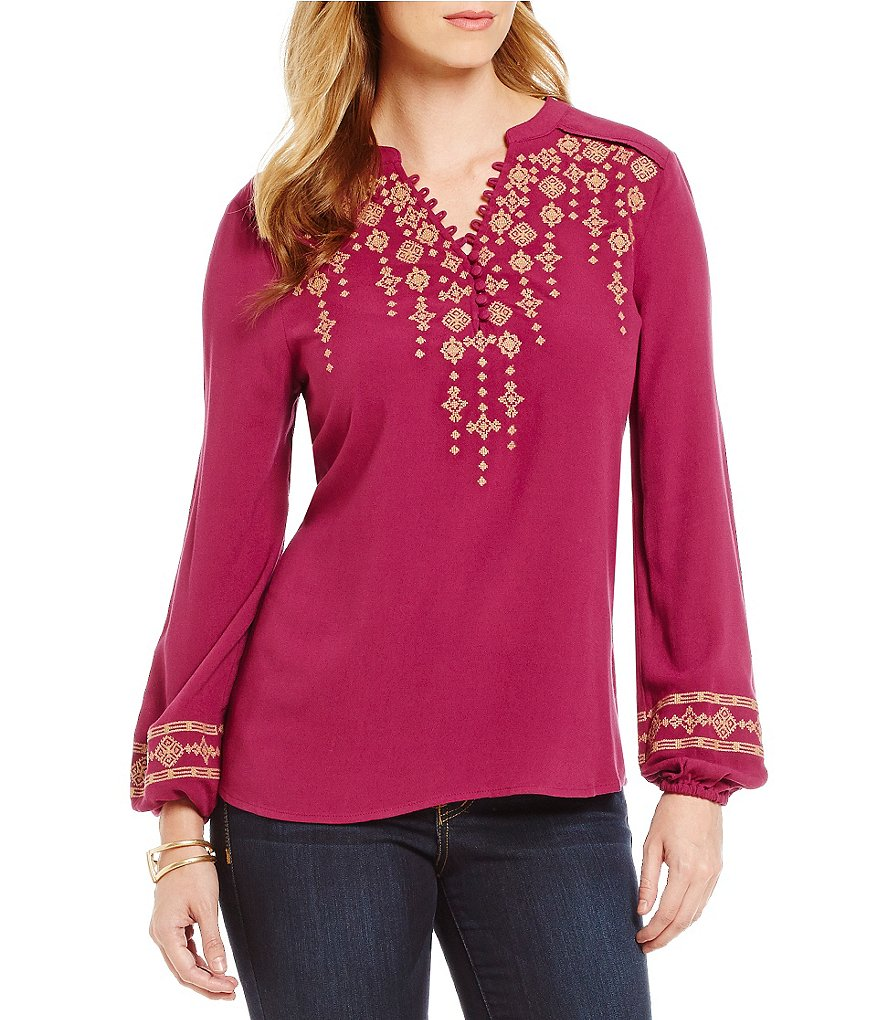 Democracy Embroidered Long Sleeve Hi-Low Hem Blouse