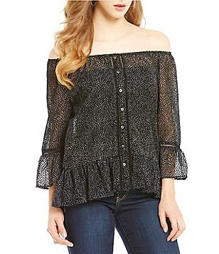 Democracy Off-The-Shoulder Dot Print Flounced Top