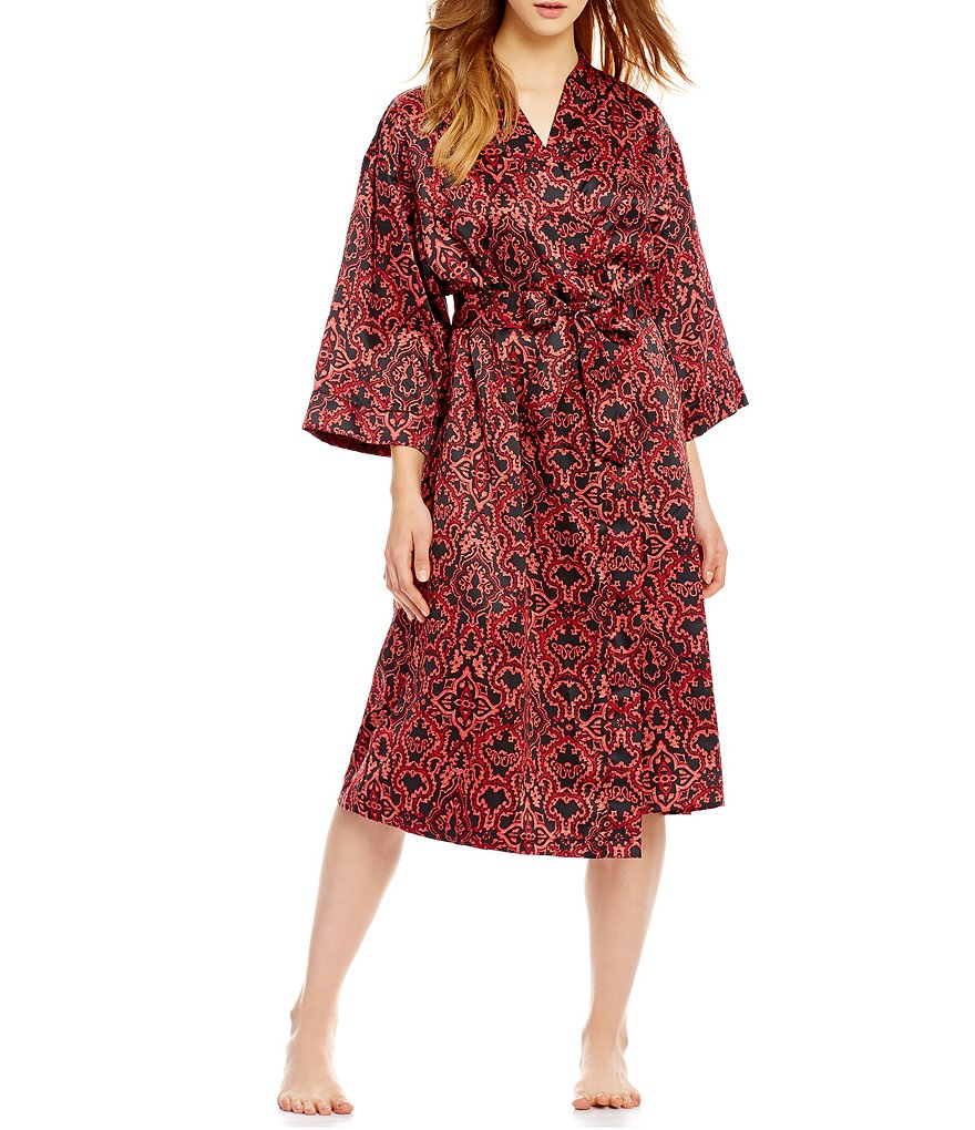 Cabernet Satin Brocade Wrap Robe