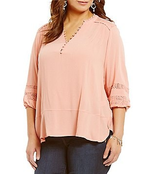 Democracy Plus Lace Inset Y-Neck 3/4 Sleeve Solid Peasant Top