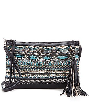Sakroots Seni Leather & Canvas Clutch
