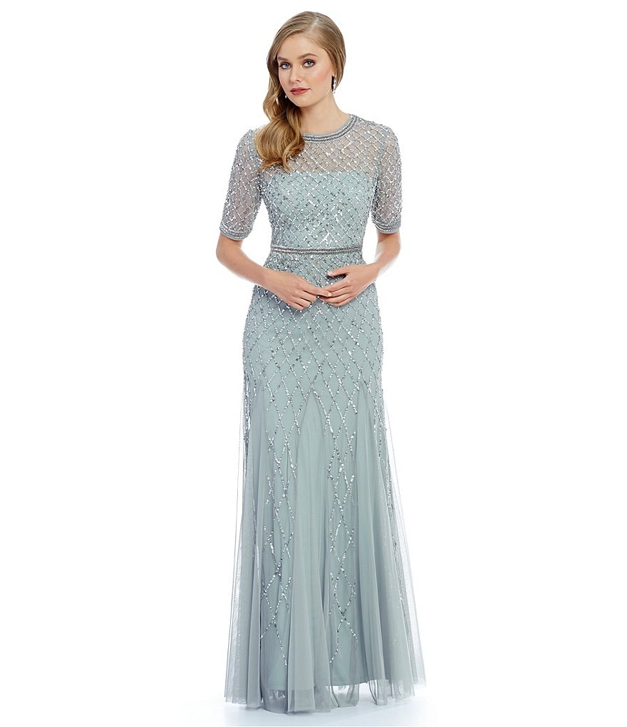 Adrianna Papell Beaded Elbow Sleeves Scoop Neck Gown