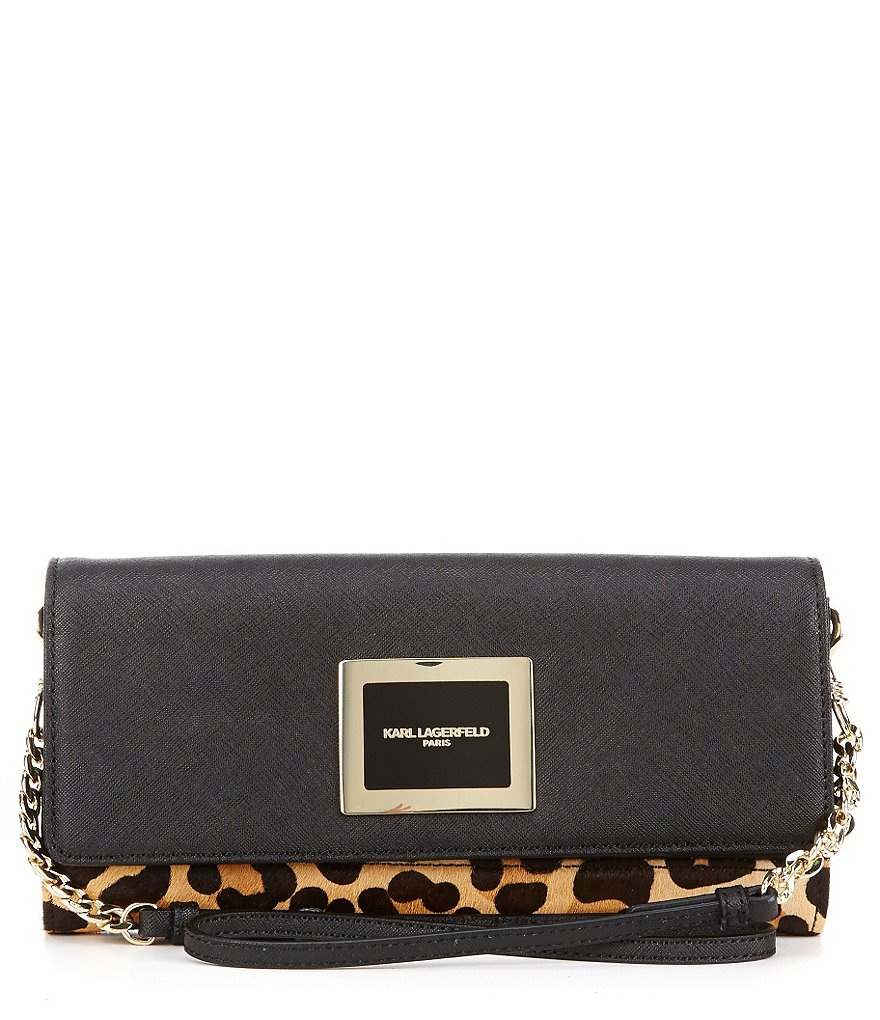 KARL LAGERFELD PARIS Saffiano & Leopard-Print Haircalf Clutch