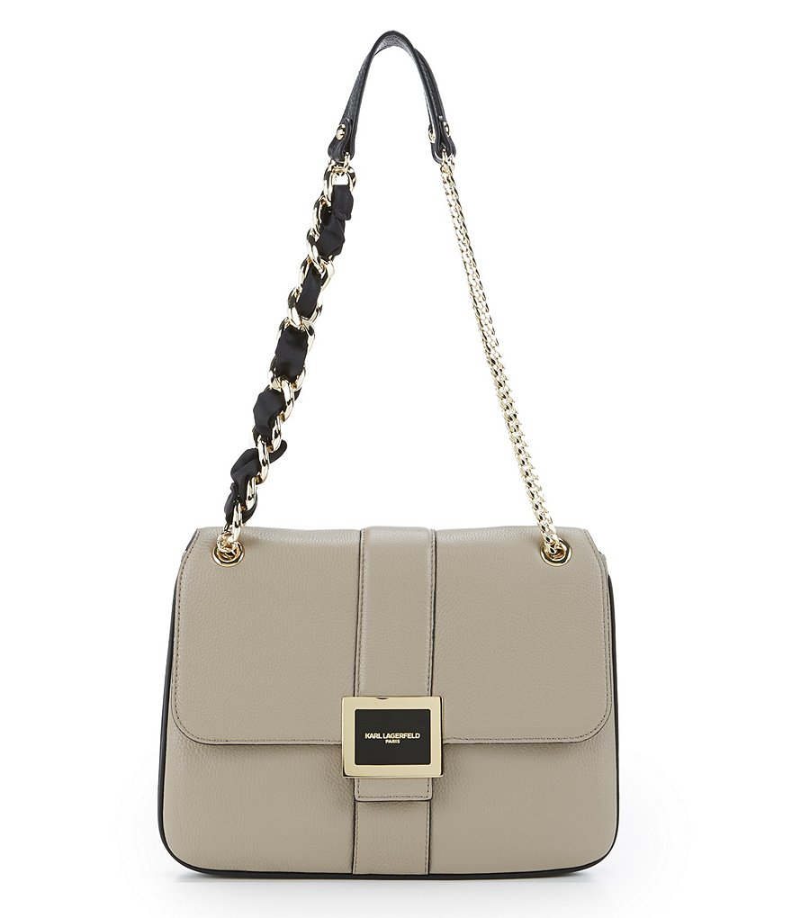 KARL LAGERFELD PARIS Estelle Ribbon & Chain-Strap Shoulder Bag
