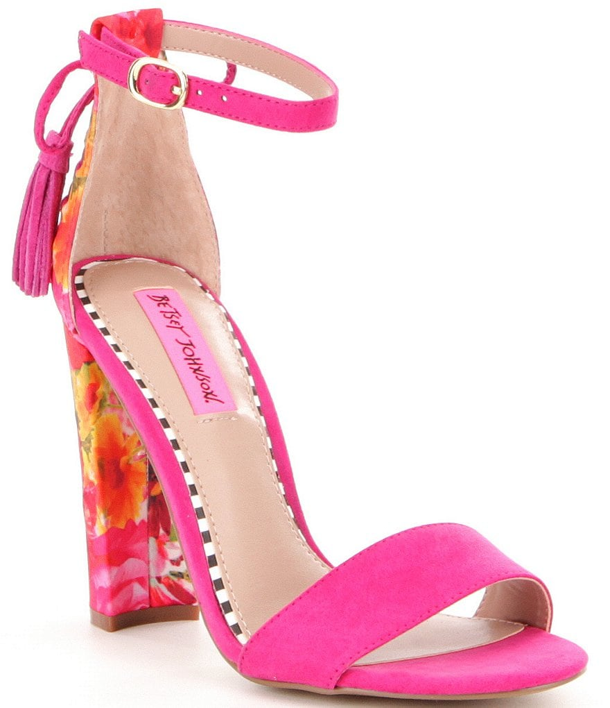Betsey Johnson Rallo Ankle Strap Bow & Tassel Detail Floral Block Heel Sandals