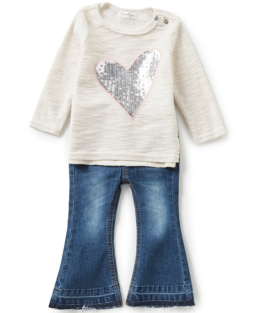 Jessica Simpson Baby Girls 12-24 Months Sequin-Heart Slub-Knit Tee and Flare-Leg Denim Jeans Set