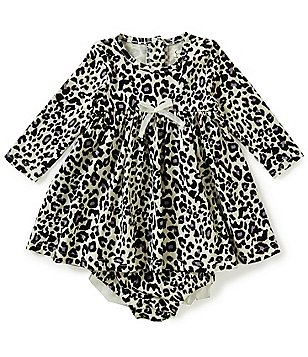 Jessica Simpson Baby Girls Newborn-9 Months Animal-Printed Brushed Jersey Dress